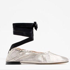 Zara lace up ballet flats